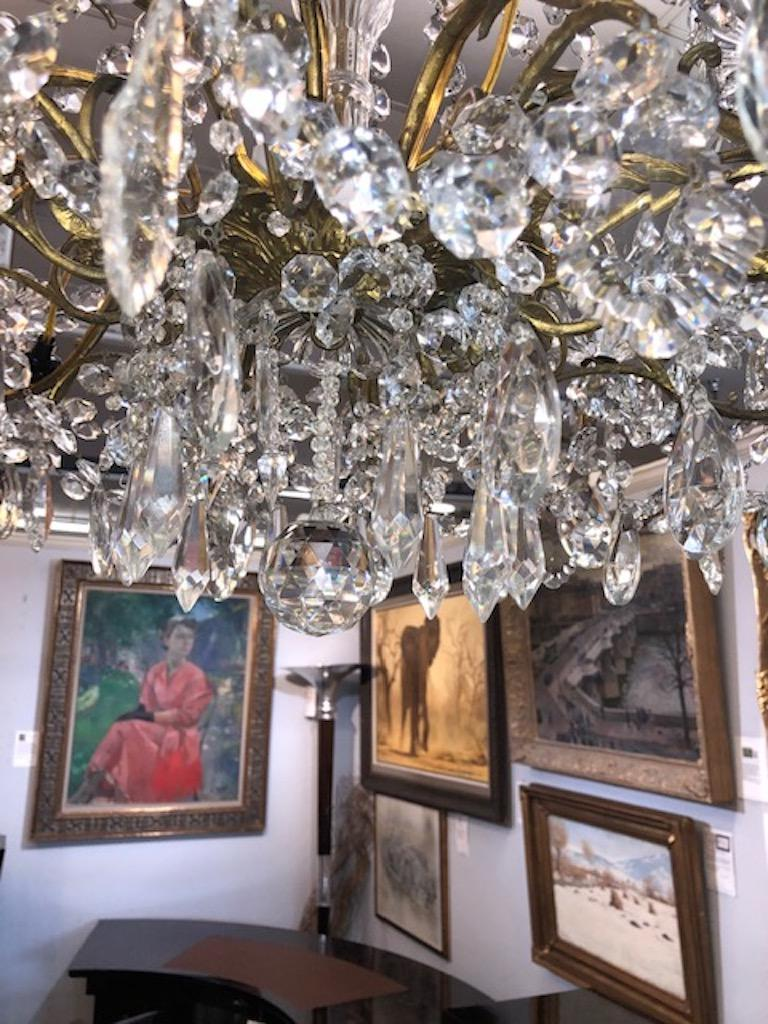 Chandelier Maria Teresa Style with Crystal Ornaments In Good Condition For Sale In Houston, TX