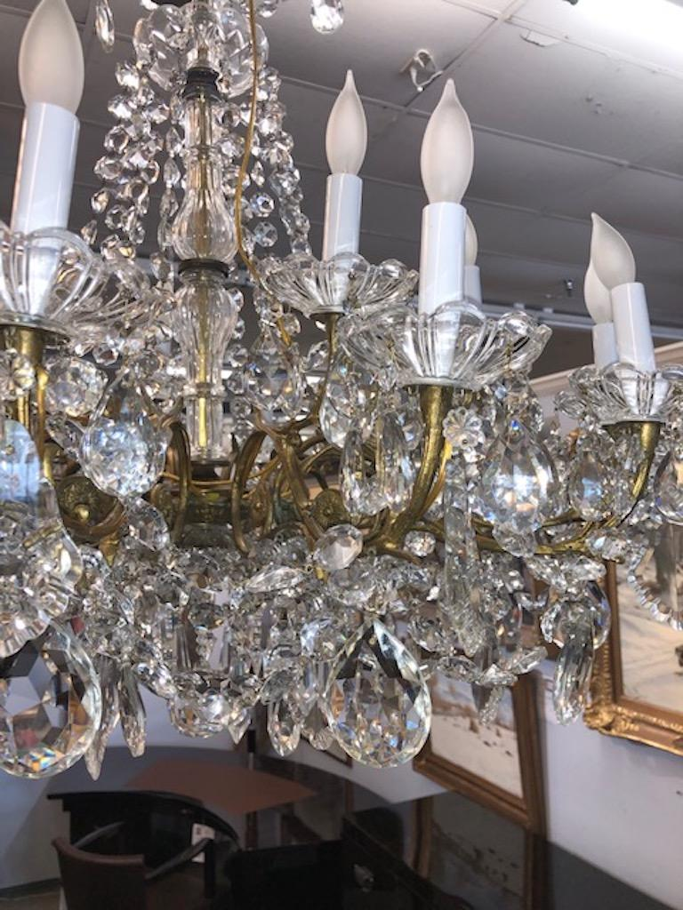 Early 20th Century Chandelier Maria Teresa Style with Crystal Ornaments For Sale