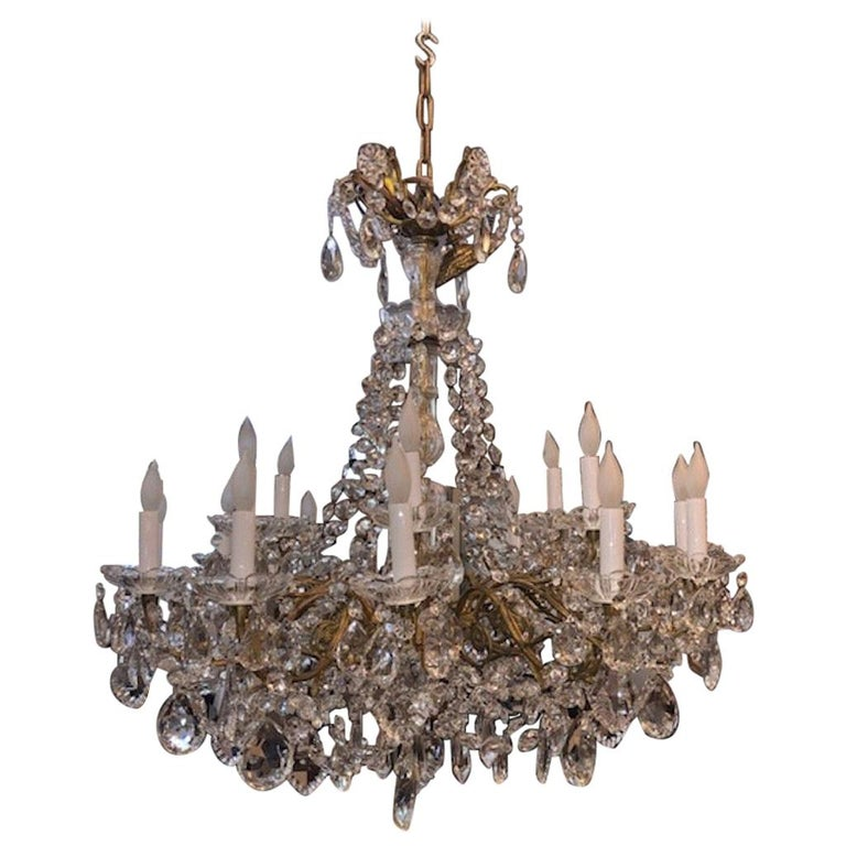 Chandelier Maria Teresa Style with Crystal Ornaments For Sale