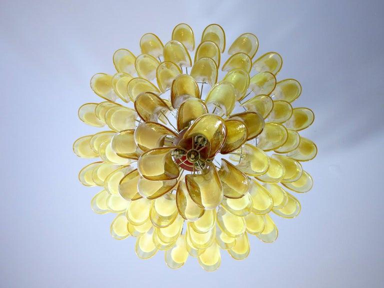 Blown Glass Chandelier Mazzega Murano, Italy  - 85 caramel lattimo glass petals