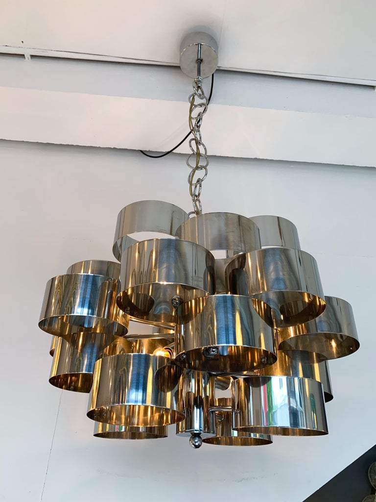 Space Age Chandelier Metal Chrome by Targetti Sankey, Italy, 1970s