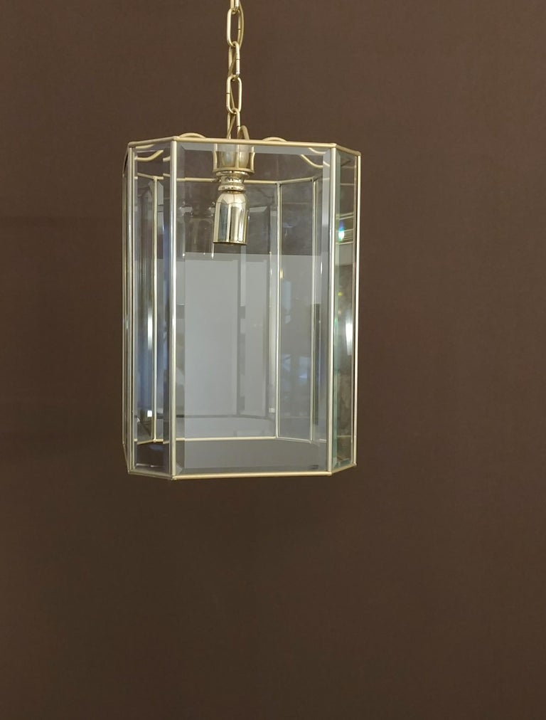 Mid-Century Modern Chandelier Midcentury in Brass and Glass, Italy, 1970s For Sale