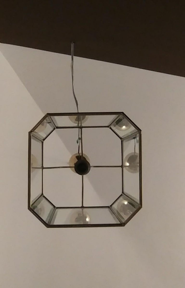 European Chandelier Midcentury in Brass and Glass, Italy, 1970s For Sale