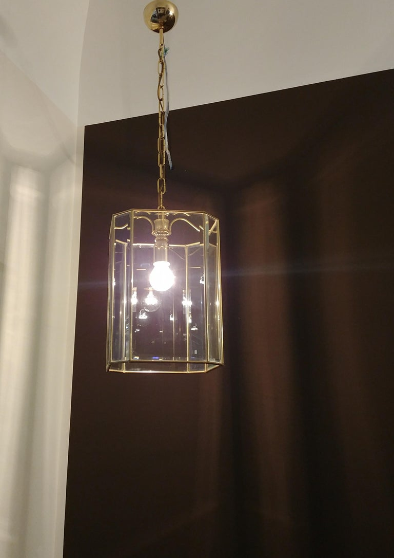 Chandelier Midcentury in Brass and Glass, Italy, 1970s In Good Condition For Sale In Palermo, IT