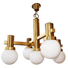 Chandelier Midcentury Brass and Opaline Glass Sciolari Style, Italy 1960s