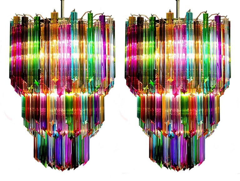Chandelier Multi-Color Triedri, 184 Prism, Murano, 1980s 7