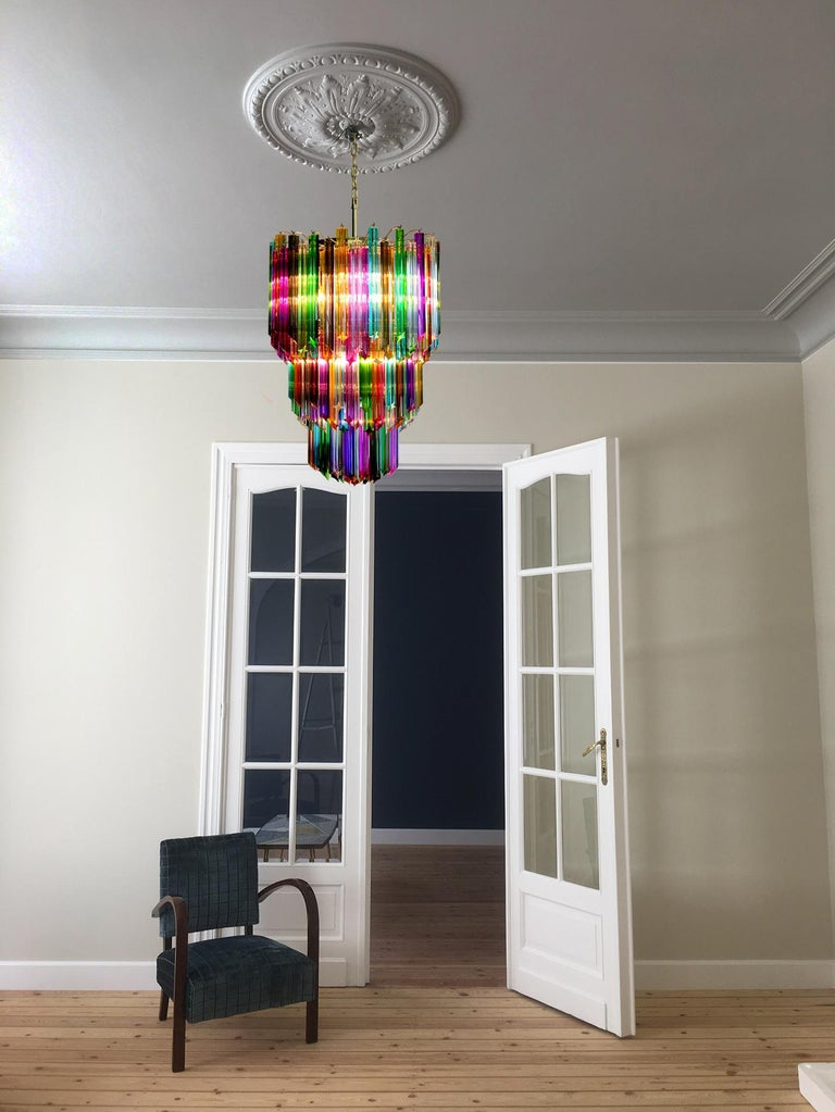 Chandelier Multi-Color Triedri, 184 Prism, Murano, 1980s In Excellent Condition In Budapest, HU