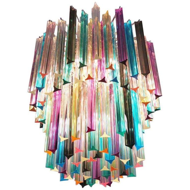 Chandelier Multicolor Triedri, 107 Prism, Murano, 1970s For Sale