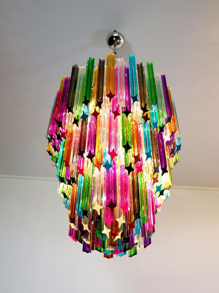 Chandelier Multi-Color Triedri, 184 Prism, Murano, 1980s 4