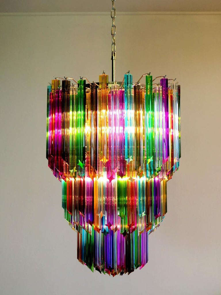 Chandelier Multi-Color Triedri, 184 Prism, Murano, 1980s 5