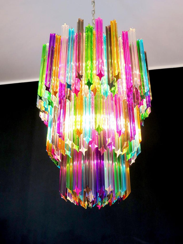 Chandelier Multi-Color Triedri, 184 Prism, Murano, 1980s 6