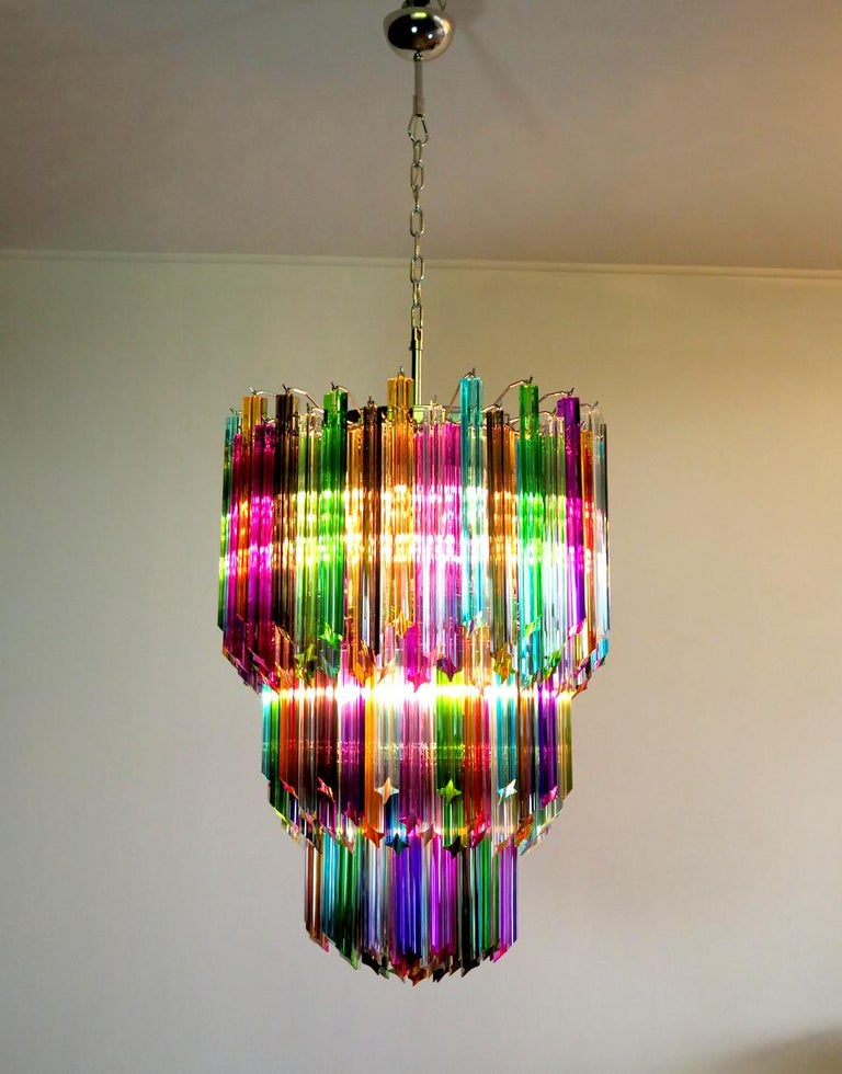 Metal Chandelier Multi-Color Triedri, 184 Prism, Murano, 1980s