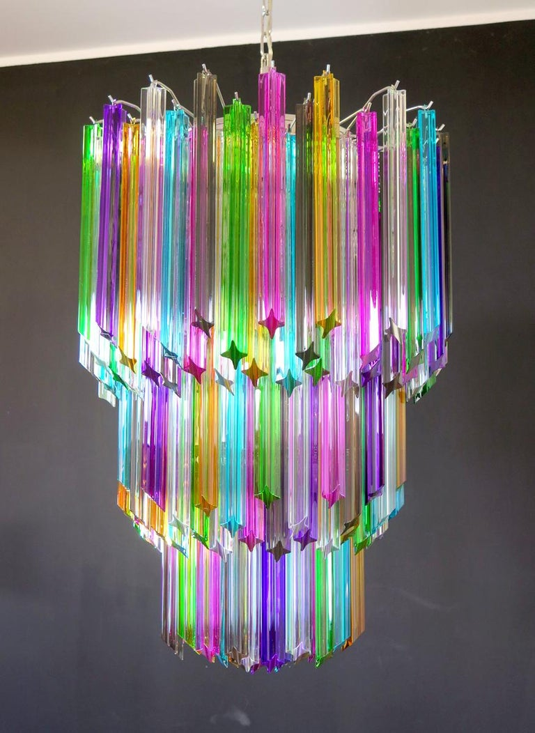 Chandelier Multi-Color Triedri, 184 Prism, Murano, 1980s 1