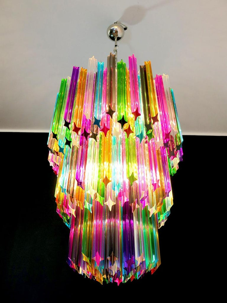 Chandelier Multi-Color Triedri, 184 Prism, Murano, 1980s 2
