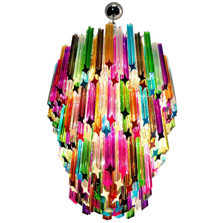 Chandelier Multi-Color Triedri, 184 Prism, Murano, 1980s