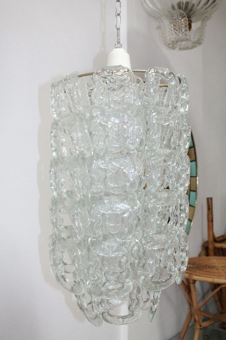 Late 20th Century Chandelier Murano Artglass Vistosi Angelo Mangiarotti, 1970s For Sale