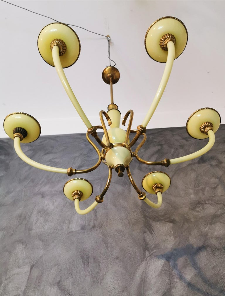 European Chandelier Murano Glass Midcentury, 6 Lights, Italy, 1950s For Sale