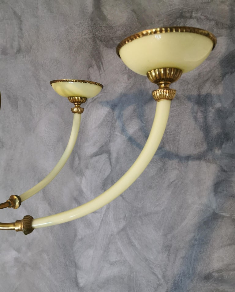 Chandelier Murano Glass Midcentury, 6 Lights, Italy, 1950s In Good Condition For Sale In Palermo, IT