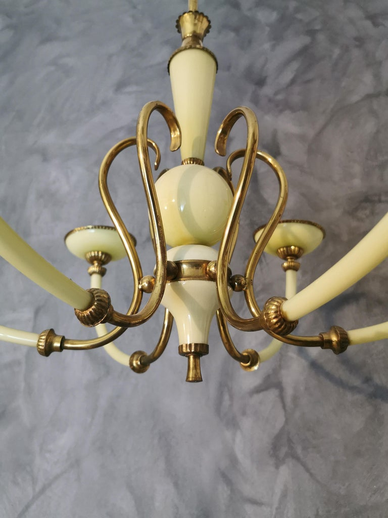 Mid-20th Century Chandelier Murano Glass Midcentury, 6 Lights, Italy, 1950s For Sale