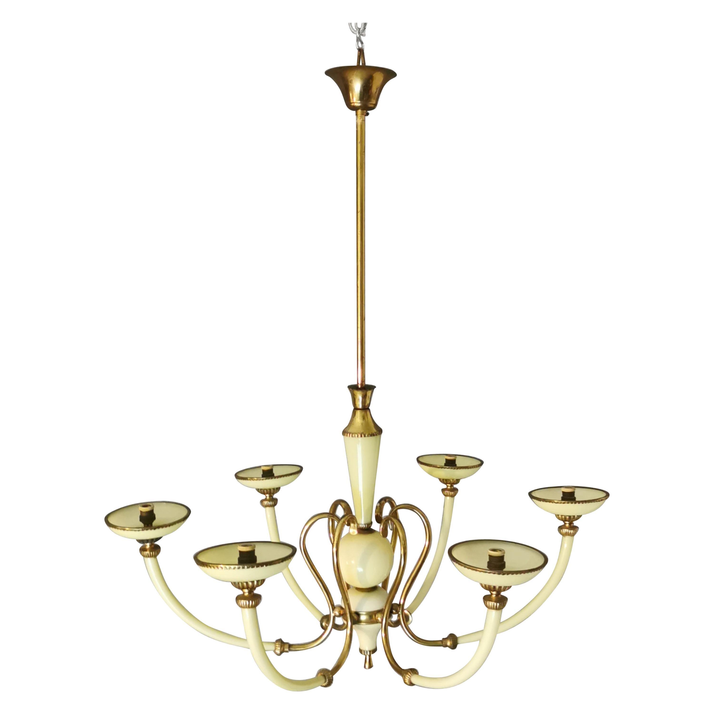 Mid Century Chandelier Brass Murano Glass Light Green 6 Lights Italy 1950s
