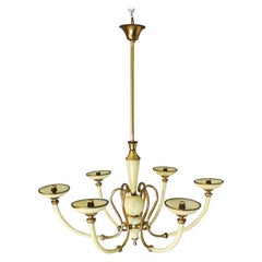 Chandelier Murano Glass Midcentury, 6 Lights, Italy, 1950s