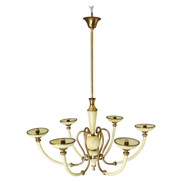 Chandelier Murano Glass Midcentury, 6 Lights, Italy, 1950s For Sale