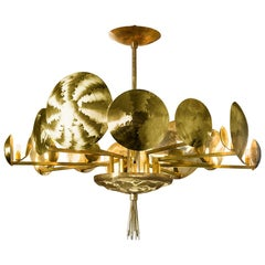Chandelier Natural Brass Hand Engraved Gold Silver Italy