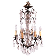 Chandelier of Brass and Polished Prisms from France, circa 1920s