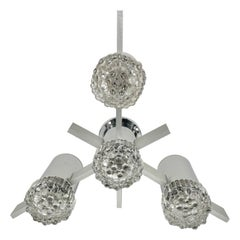 Chandelier or Sconces in Chrome and Glass by Gaetano Sciolari, Italy, 1970s