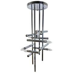 Chandelier or Table Lamp Sculpture by Gaetano Sciolari Chrome 9 Light Italy 1970