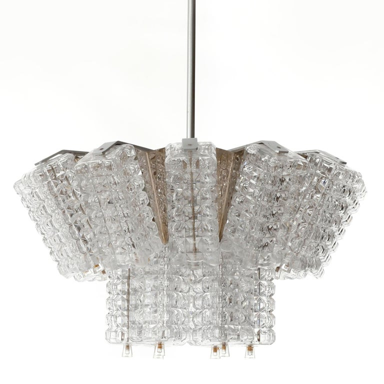Brutalist Chandelier Pendant Light, Austrolux, Nickel Chrome Glass, Austria, 1970s, 1 of 3 For Sale