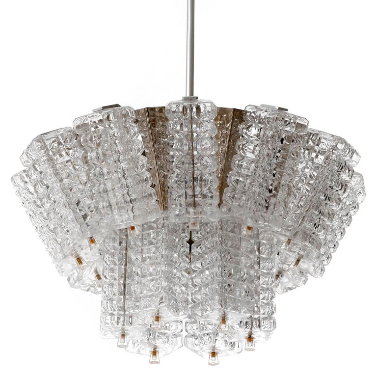 Austrian Chandelier Pendant Light, Austrolux, Nickel Chrome Glass, Austria, 1970s, 1 of 3 For Sale