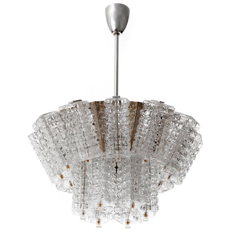 Painted Chandelier Pendant Light, Austrolux, Nickel Chrome Glass, Austria, 1970s, 1 of 3 For Sale