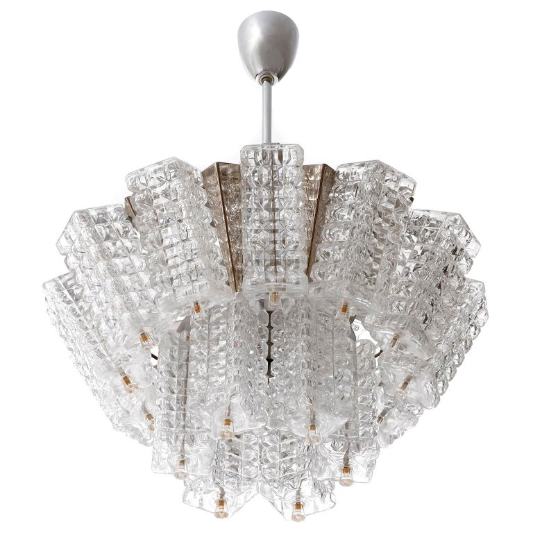 Chandelier Pendant Light, Austrolux, Nickel Chrome Glass, Austria, 1970s, 1 of 3 In Good Condition For Sale In Graz, AT