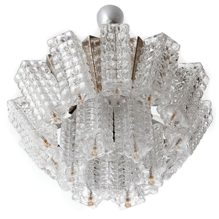 Late 20th Century Chandelier Pendant Light, Austrolux, Nickel Chrome Glass, Austria, 1970s, 1 of 3 For Sale