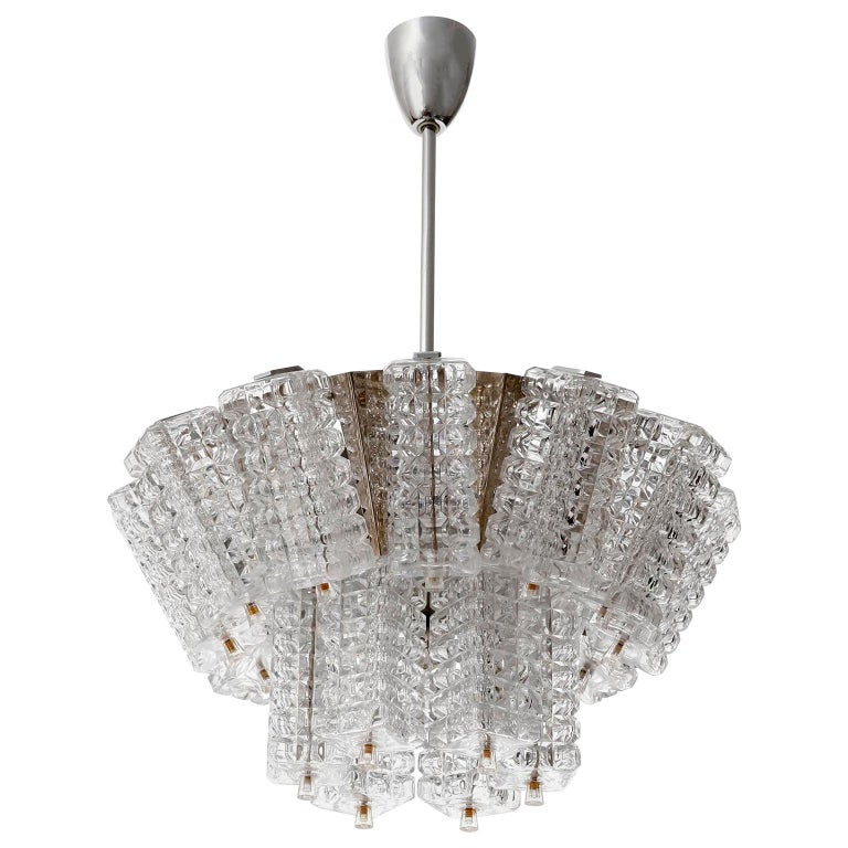 Chandelier Pendant Light, Austrolux, Nickel Chrome Glass, Austria, 1970s, 1 of 3 For Sale