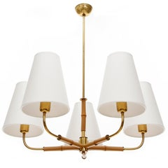 Chandelier Pendant Light by Rupert Nikoll, Bamboo Brass, Austria, 1960