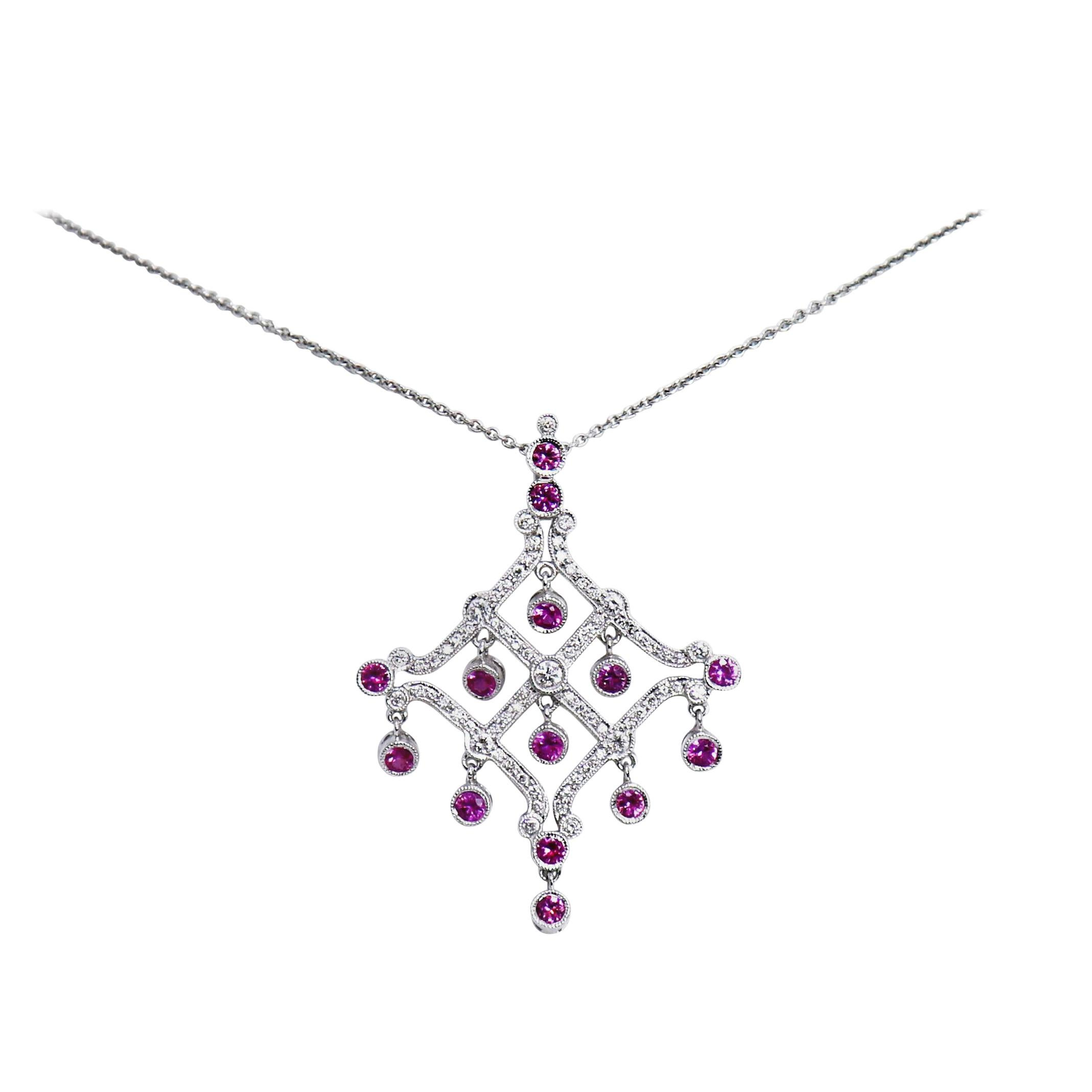 Chandelier Pink Sapphire and Diamond White Gold Pendant Necklace
