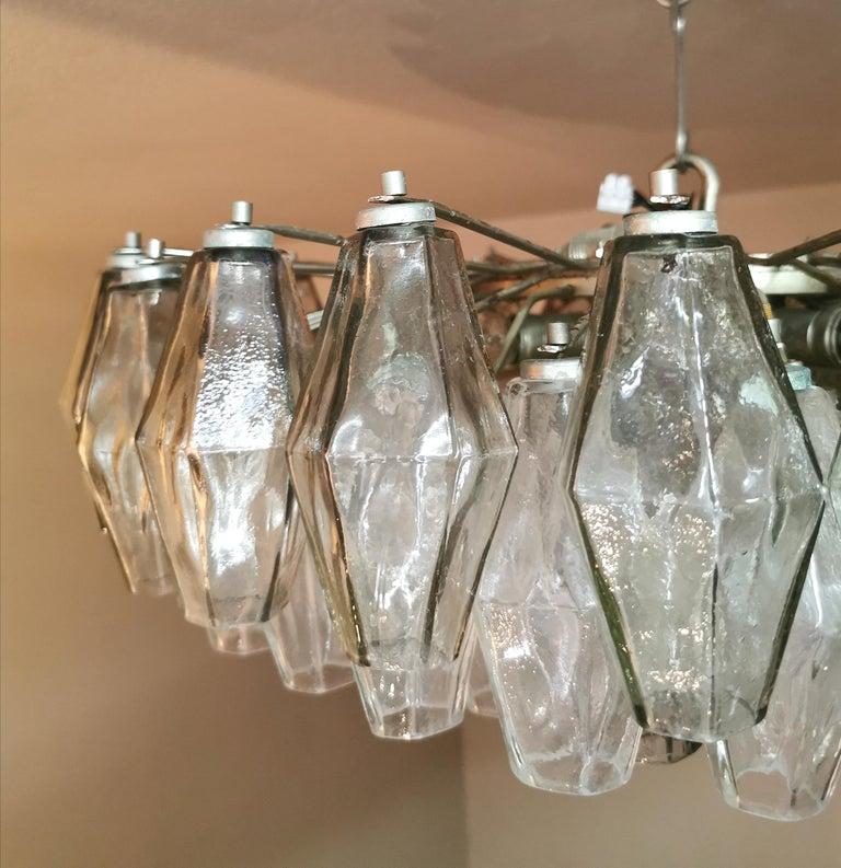 Chandelier Poliedri by Carlo Scarpa for Venini Murano Glass Midcentury Italy 60s In Good Condition In Palermo, IT