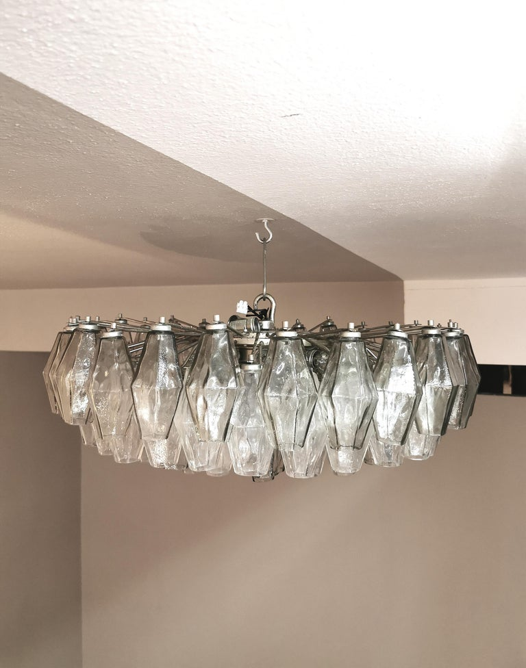 20th Century Chandelier Poliedri by Carlo Scarpa for Venini Murano Glass Midcentury Italy 60s