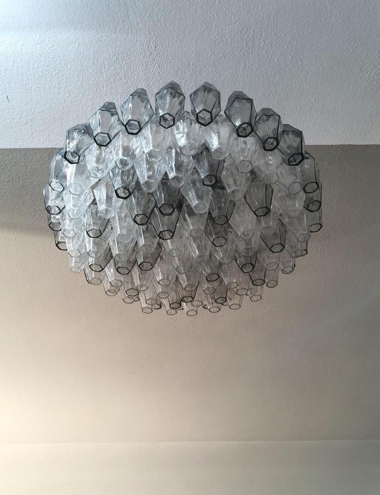 Chandelier Poliedri by Carlo Scarpa for Venini Murano Glass Midcentury Italy 60s 1