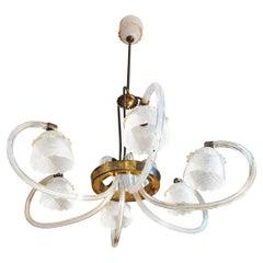 Mid Century Chandelier Reticello by Barovier & Toso Murano Glass Brass 1930s