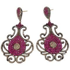 Chandelier Ruby, Diamond 14 Karat Gold Earrings