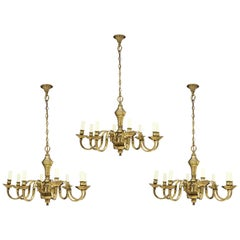 Chandelier, Set, Three, Brass, 19th Century, English Victorian, Antiquarian