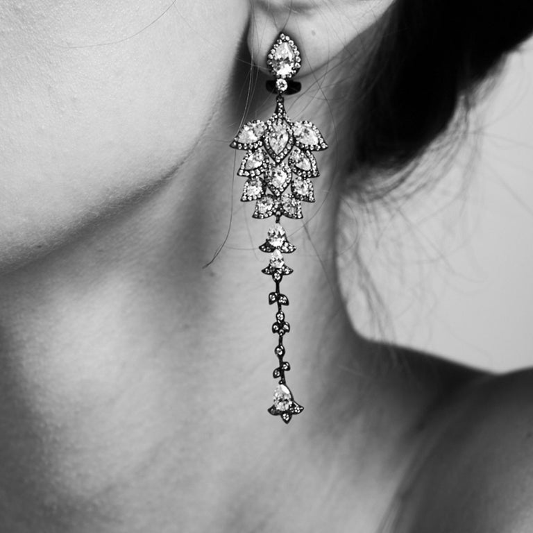 Contemporary Ammanii Chandelier Statement Earrings Rose Gold-Plated Sterling Silver For Sale