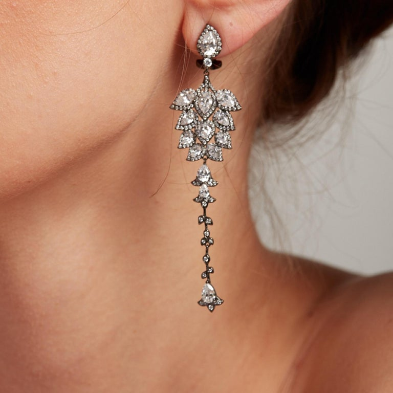 Ammanii Chandelier Statement Earrings Rose Gold-Plated Sterling Silver In New Condition For Sale In Beverly Hills, CA