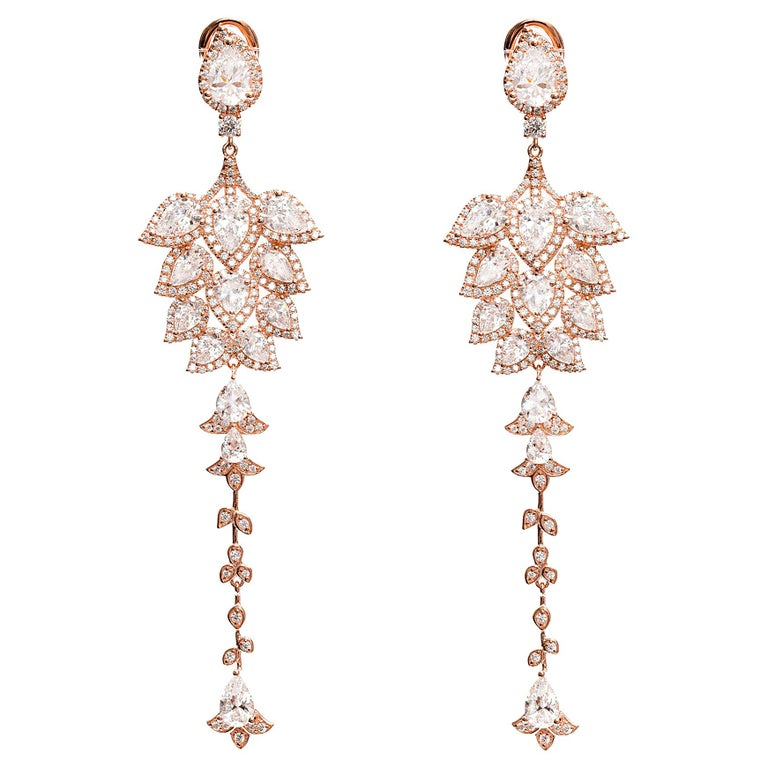 Ammanii Chandelier Statement Earrings Rose Gold-Plated Sterling Silver For Sale