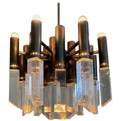 Chandelier Stilnovo Twenty Lights with Facted Lucite Shades
