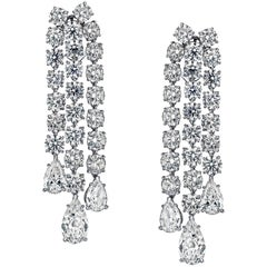 Chandelier Style Earrings with 24.10 Carat of Round and Pear Shape Diamonds