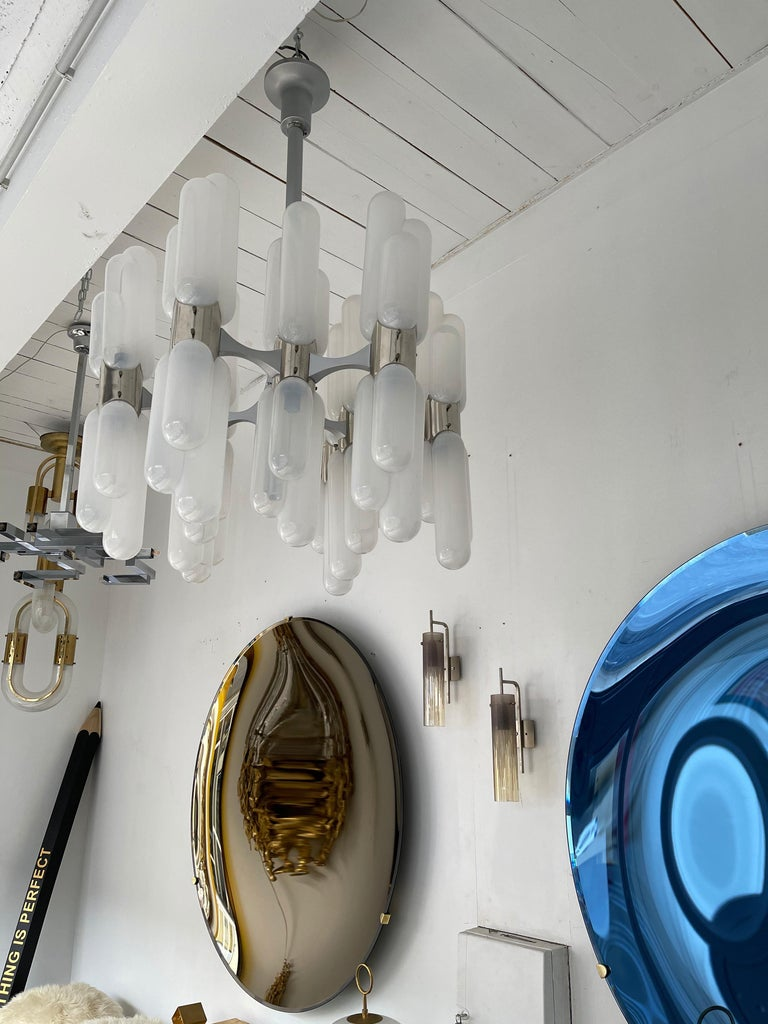 Chandelier Torpedo Glass Metal by Carlo Nason for Mazzega Murano, Italy, 1970s For Sale 2